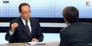 François Hollande face à David Pujadas sur France 2