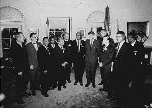 Les leaders de la protestation pour les droits civiques reçus par John Fitzerald Kennedy