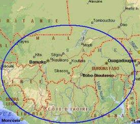 Une carte de la Côte d'Ivoire à l'époque de Samory Touré
