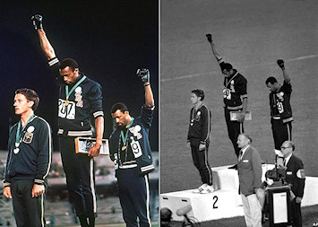 Peter Norman, Tommie Smith et John Carlos lors de leur protestation apr�s le 200m aux J.O 1968 � Mexico