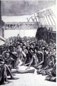 """Pont arrière du bateau négrier anglais """"le wildfire"""", 1860"""
