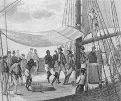 """"""" Danse des Nègres """" sur le pont d'un bateau négrier français, début du 19ième siècle."""