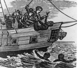 Esclaves malades et affaiblis jetés à la mer; gravure du 18è siècle