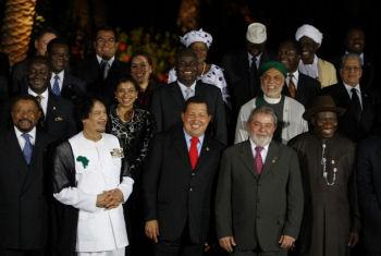 Hugo Chavez, Kadhafi, Lula, Jean Ping etc lors du 2ème sommet Amérique du Sud Afrique en septembre 2009