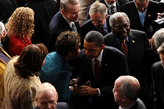 Barbara Lee et Barack Obama en janvier 2010