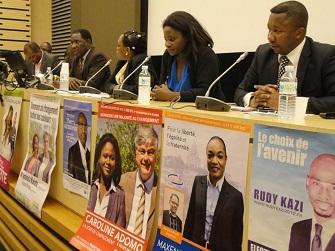 De g à d : Sega Doucouré, Eugénie Diecky (modératrice), Caroline Adomo et Kag Sanoussi lors du colloque ''Les Noirs de France et l'action politique''