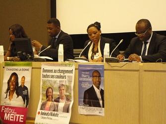Coumba Dioukhane, Patrick Lozes, Eugénie Diecky (modératrice) et Dogad Dogoui lors du colloque sur ''les Noirs de France et l'action politique''