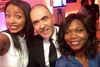 Flora Coquerel (miss france 2014), l'historien françois Durpaire et Karen Guiock de M6 lors de la soirée de lancement afrostream mytf1vod