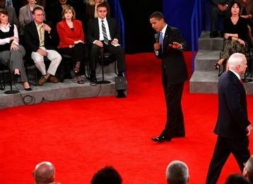 Barack Obama et John McCain lors du second débat