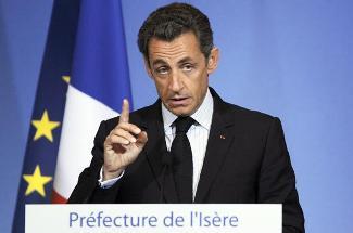 Nicolas Sarkozy, en déplacement à Grenoble pour un discours sur la sécurité, le 30 juillet.