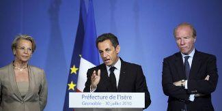 Nicolas Sarkozy,Michèle Alliot-Marie et Brice Hortefeux, en déplacement à Grenoble, le 30 juillet à Grenoble.