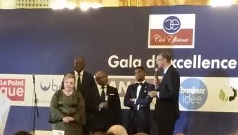 Lionel Zinsou s'exprime en compagnie de Samuel Eto'o, Elie Nkamgueu et Chantal Colle
