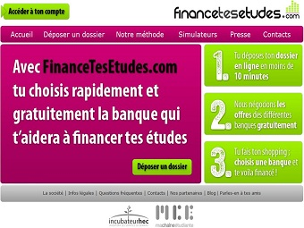 La page d'accueil de financetesetudes.com