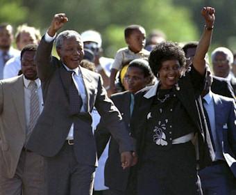 Lors de la libération de Nelson Mandela le 11 février 1990
