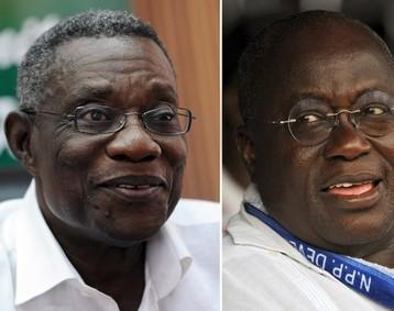 John Atta Mills (� gauche) �lu pr�sident du Ghana face � Nana Akufo Addo (� droite)