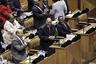 Jacob Zuma lors d'une séance à l'assemblée nationale sud-africaine
