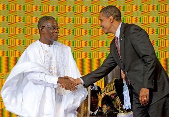 Le président ghanéen John Atta Mills en compagnie de Barack Obama