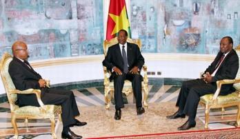 Cellou Dalein Diallo et Alpha Condé le 3 septembre en compagnie de Blaise Compaoré