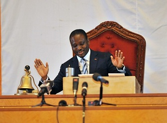 Guillaume Soro lors de son discours apr�s son �lection � la pr�sidence de l'assembl�e nationale ivoirienne