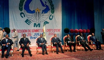 Les chefs d'Etat de la zone Cemac lors du 11ème sommet à Brazzaville le 25 juillet 2012