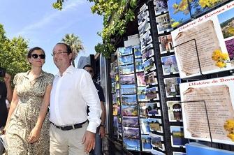 François Hollande et Valerie Trierweiler à Bormes-les-Mimosas le 3 août 2012