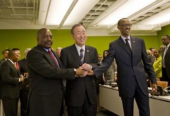 Joseph Kabila, Ban Ki Moon et Paul Kagame lors d'une précédente rencontre