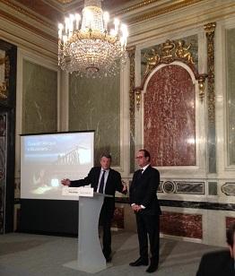 Jean-Louis Borloo et François Hollande le 03 mars à l'hôtel Marigny