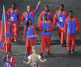 L'équipe olympique haïtienne lors de la cérémonie d'ouverture des jeux olympiques 2012