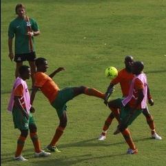 Les Chipolopolo zambiens à l'entraînement