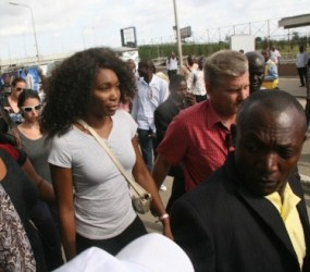 Venus Williams lors de son arriv�e � Lagos le mardi 30 octobre 2012