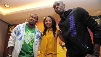 Yohan Blake, Allyson Felix et Usain Bolt