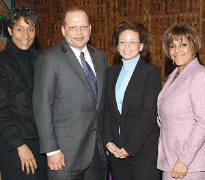 Avec Valerie Jarrett et Linda Johnson Rice