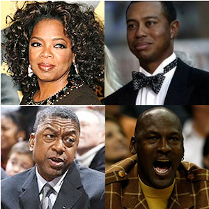Oprah Winfrey, Tiger Woods, Michael Jordan et Bob Johnson