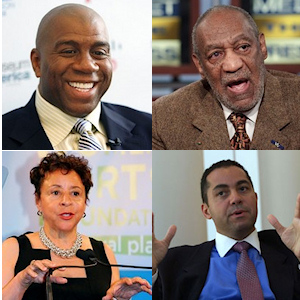 Magic Johnson, Bill Cosby,  R Donahue Peebles et Sheila Johnson