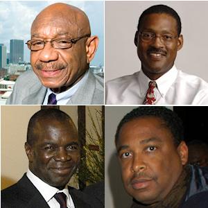 Dans le sens des aiguilles d'une montre : Herman J Russell, Ulysses Bridgeman Jr, Tracy Maitland et Alphonse Fletcher Jr