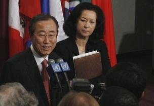 Ban-Ki Moon en compagnie de Michele Montas