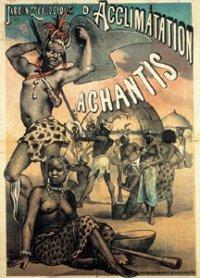Affiche de 1887 presentant l'exposition des Ashantis au jardin d'acclimatation