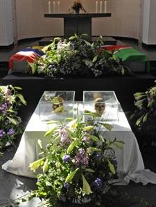 Les crânes exposés à la Charité lors de la cérémonie Du 30.9.2011 à Berlin
