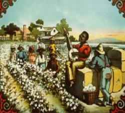 Le blues trouve son origine dans les chants des esclaves noirs du sud des �tats-Unis. Une r�colte de coton. Lithographie du xixe si�cle.