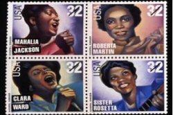 Timbre postal représentant les plus belles voix du gospel.
