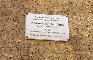 Plaque commérative en l'honneur de Wilhelm Anton Amo