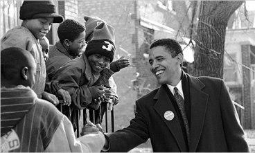 Barack Obama en campagne en 1996