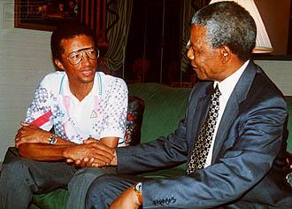 Avec Nelson Mandela en 1992