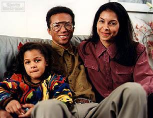 Arthur Ashe, son épouse Jeanne et leur fille Camera en 1992