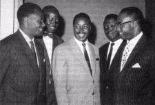 Sékou Touré à l'ONU en 1963.De gauche à droite: Sékou Touré, Alassane Diop, Lansana Bévogui et Keita NFamara, Diallo Telli.
