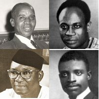 In the direction of clockwise Hastings Kamuzu Banda, Kwame Nkrumah, James Aggrey and Nnamdi Azikiwe.  Aggrey influenced the thought of the future African statesmen 3