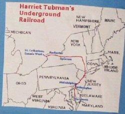 Le chemin de l'underground railroad suivi par Harriet Tubman