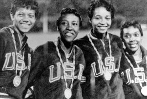 Le relais 4*100 am�ricain, m�daille d'or aux jeux de Rome en 1960 : Wilma Rudolph, Barbara Jones, Lucinda Williams, Martha Hudson