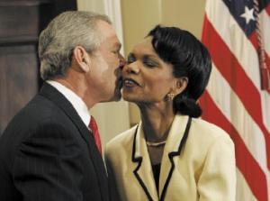 Condoleezza Rice, secrétaire d'Etat des USA et Georges Bush