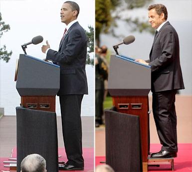 Barack Obama un peu plus grand que Nicolas Sarkozy ?